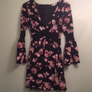 Charlotte Russe small black pink floral dress bell